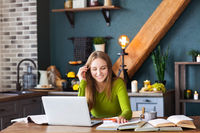 Young smiling woman freelancer sitting at table at home with laptop, making notes