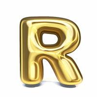Golden font Letter R 3D
