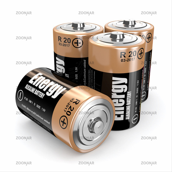 Energy batteries on white backround. Three-dimensional image. 3d