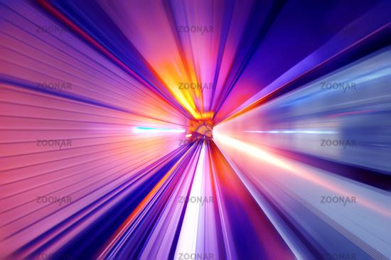 Neon light tunnel