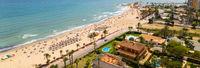 Aerial horizontal view Dehesa de Campoamor beach. Spain