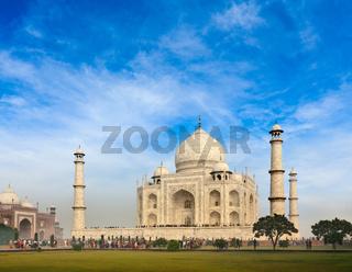 Taj Mahal. Indian Symbol - India travel background. Agra