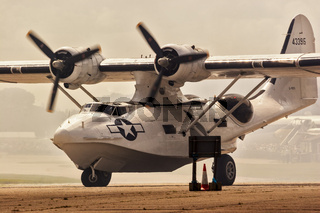 Aircraft Catalina Flying Boat Taxying Duxford UK