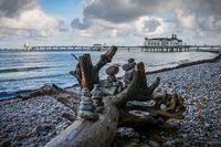 Cairns on the Main Beach and the Sellin Pier, Mecklenburg-Western Pomerania, Germany