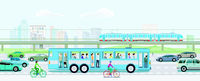 Road traffic with elevated train, bus and cyclist and cityscape illustration