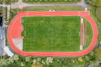 Aerial View of Soccer Field and Running Track