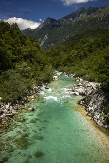 Soca river in Slovenia in summer