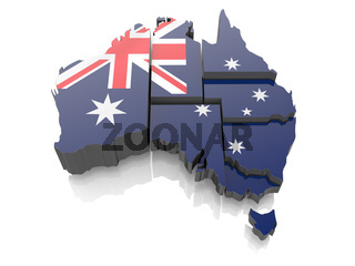 Map of Australia in national flag colors. 3d