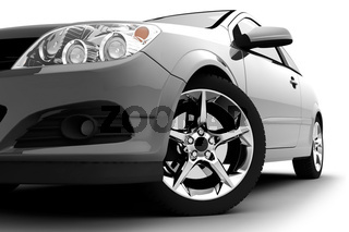 Silver car on a white background