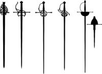 Set of the vector rapier and epee silhouette for fencing or duel