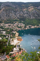 Unrealistically beautiful view of the Bay of Kotor on a beautiful summer day in Montenegro. Very beautiful view of the fjord from above.