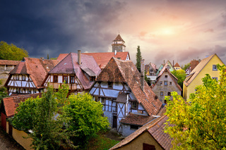Rothenburg ob der Tauber houses rooftops view from city walls