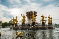 VDNKh, Exhibition of Achievements of National Economy amusement park, view of the Friendship of Nations fountain