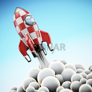 Vintage rocket ship launching to space. 3D illustration