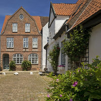 Houses in the street Wasserzeile, in which Theodor Storm also lived, Husum, Germany, Europe