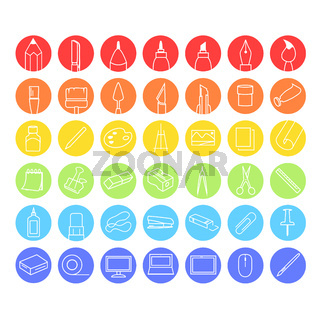 Collection of icons creativity for drawing - Vector