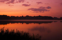 Romantic sunset on the lake with fog