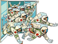 Astronauts run out of the spacecraft. Mastering the stars