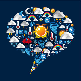 Climate icons set on bubble shape