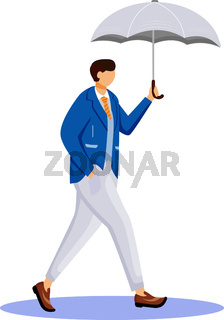 Man in jacket flat color vector faceless character. Rainy weather. Autumn wet day. Male with umbrella. Walking caucasian guy in suit isolated cartoon illustration on white background