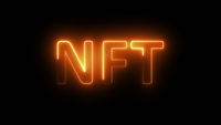 Glowing nft digital text abstract background.