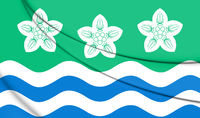 3D Flag of Cumberland county, England. 3D Illustration.