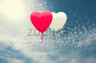 Congratulatory background with heart shaped air balloon. 3d Illustration