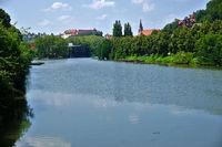 Neckar bei Tübingen mit Schloß und Stiftskirche