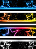 Glowing Neon Stars Banner Background Set of Four