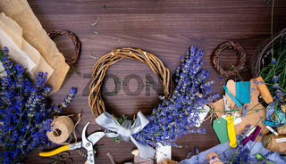 Handmade wreath with lavender flowers, top view
