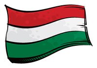 Painted Hungary flag waving in wind