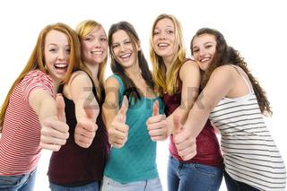 Girlfriends doing Thumbs Up