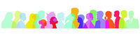 Colorful crowd, faces in profile illustration
