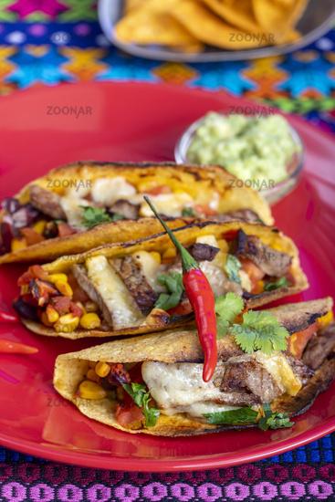 gegrillte mexikanische Tacos auf einem Teller