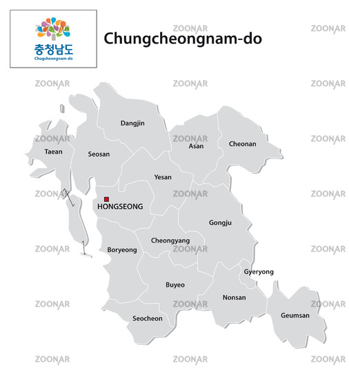 administrative vector map of the South Korean province of South Chungcheong with flag