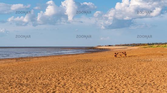 The empty Heacham South Beach, Norfolk, England