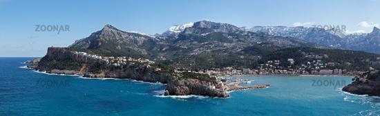 Panoramic view to Port de Soller (Mallorca)
