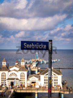 Sign: Seebrucke (German for: Sea-Bridge) in Sellin, Mecklenburg-Western Pomerania, Germany