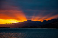 Sunset over Pilot Bay in New Zealand