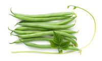 Green Beans With Leaf Isolated Over White