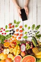 Ordering different fruits and vegetables using smartphones
