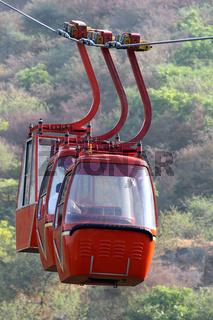 red funicular cabin