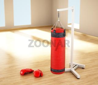 Boxing sandbag hanging on the chain inside a room. 3D illustration