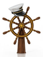 Ship wheel and captain hat isolated on white background. 3D illustration