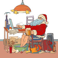 Santa Claus online remote work in quarantine