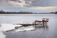 Fishing dock on the Dnieper river in Kiev