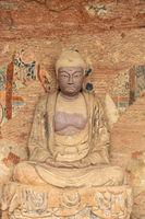 Maiji mountain grottoes, buddhist statue closeup