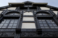 Langenberg house with carvings by the sculptor Ferdinand Langenberg, neo-Gothic, Goch, Germany