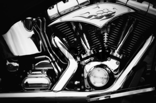 motorcycle engine in black and white