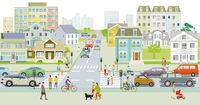 City silhouette with pedestrians on the zebra crossing, illustration
